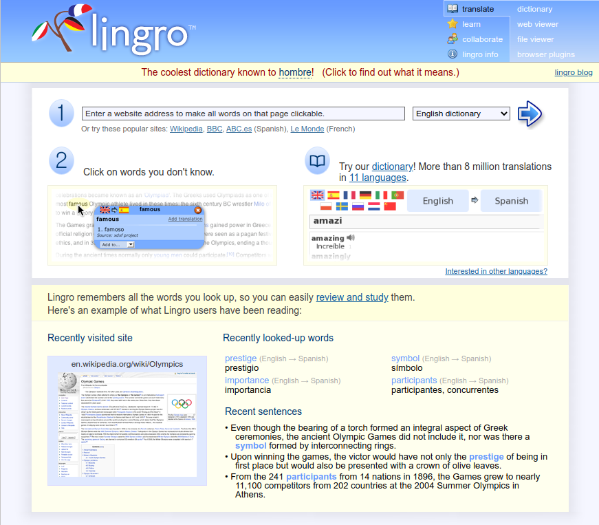 Lingro project screenshot