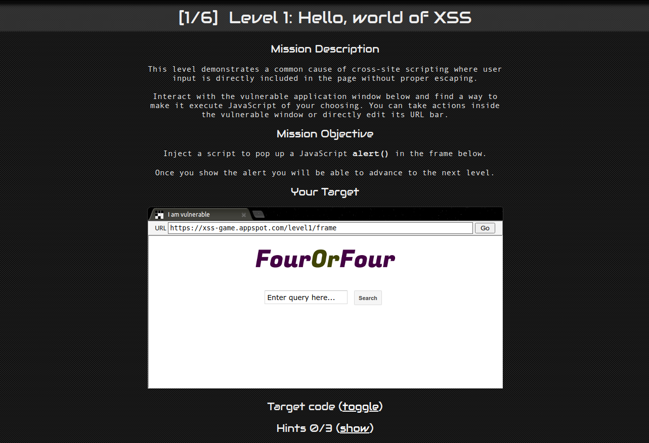 XSS Game screenshot